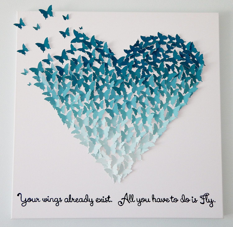 3d butterfly heart in ombre ocean blues wall art 24x24 you - Heart wall decoration ...
