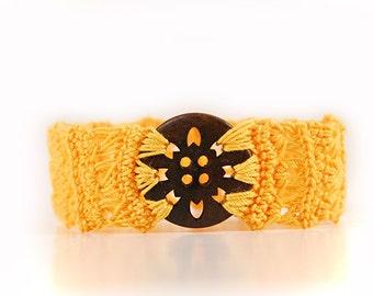 african bracelet - crocheted - yellow - crochet bracelet - crochet jewellery - yellow bracelet - yellow items - button - wood