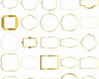 25 Digital Frames Clip Art, Gold Digital Frames Clip Art, Classic frames, Scrapbooking Frames, Basic Frames, Digital download, Clipart Frame