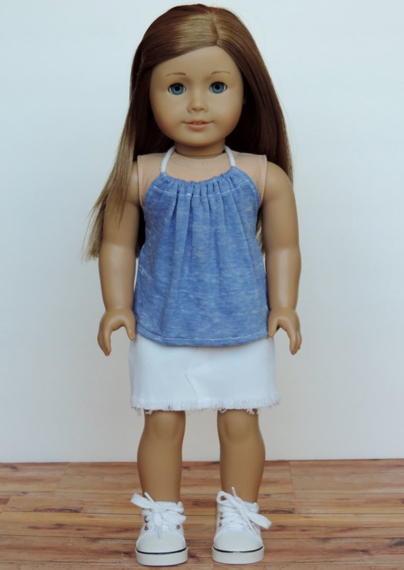 Blue Burnout Halter Top - American Girl Doll Clothes