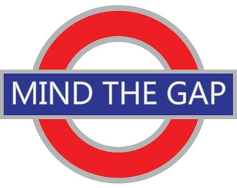 Mind The Gap - Famous Saying and Sign In London, England - Watch Where You Step - Set of 3 Blank Notecards with White Envelopes