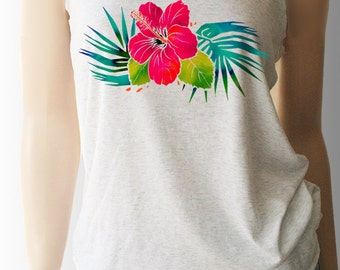 Watercolor Hibiscus Band Tank Top. Workout Shirt. Summer Shirt. Beach Shirt. Tropical. Womens Tank. Womens Shirt.