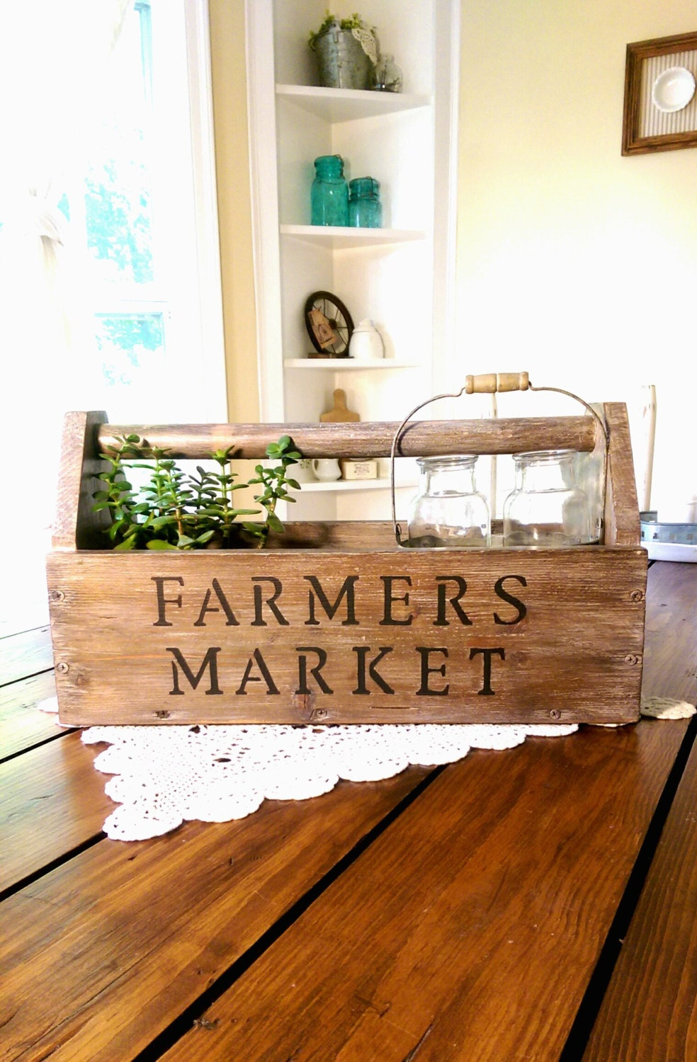 Old Vintage Farmers Market Wooden Toolbox Farmhouse Decor