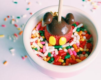 Mickey Mouse Candy Apple Disneyland Charm Miniature Food Jewelry Polymer Clay