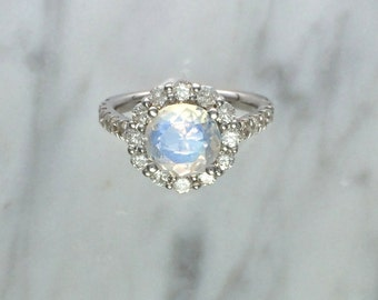Blue Rainbow Faceted Moonstone w/ Round Diamond Halo Setting in 14K White Gold - Alternative Engagement Ring - Affordable Engagement Ring