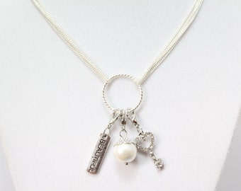 Charm Necklace, Personalized Charm Necklace, Charm Holder, Mothers Charm Necklace, Moms Gift, Dream catcher
