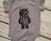 Where the wild things are bodysuit, baby boy clothes, baby girl clothes, I'll eat you up I love you so, monster baby bodysuit