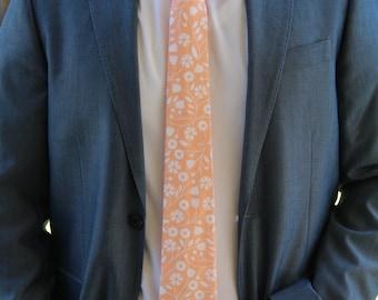 Peach Floral Skinny Tie