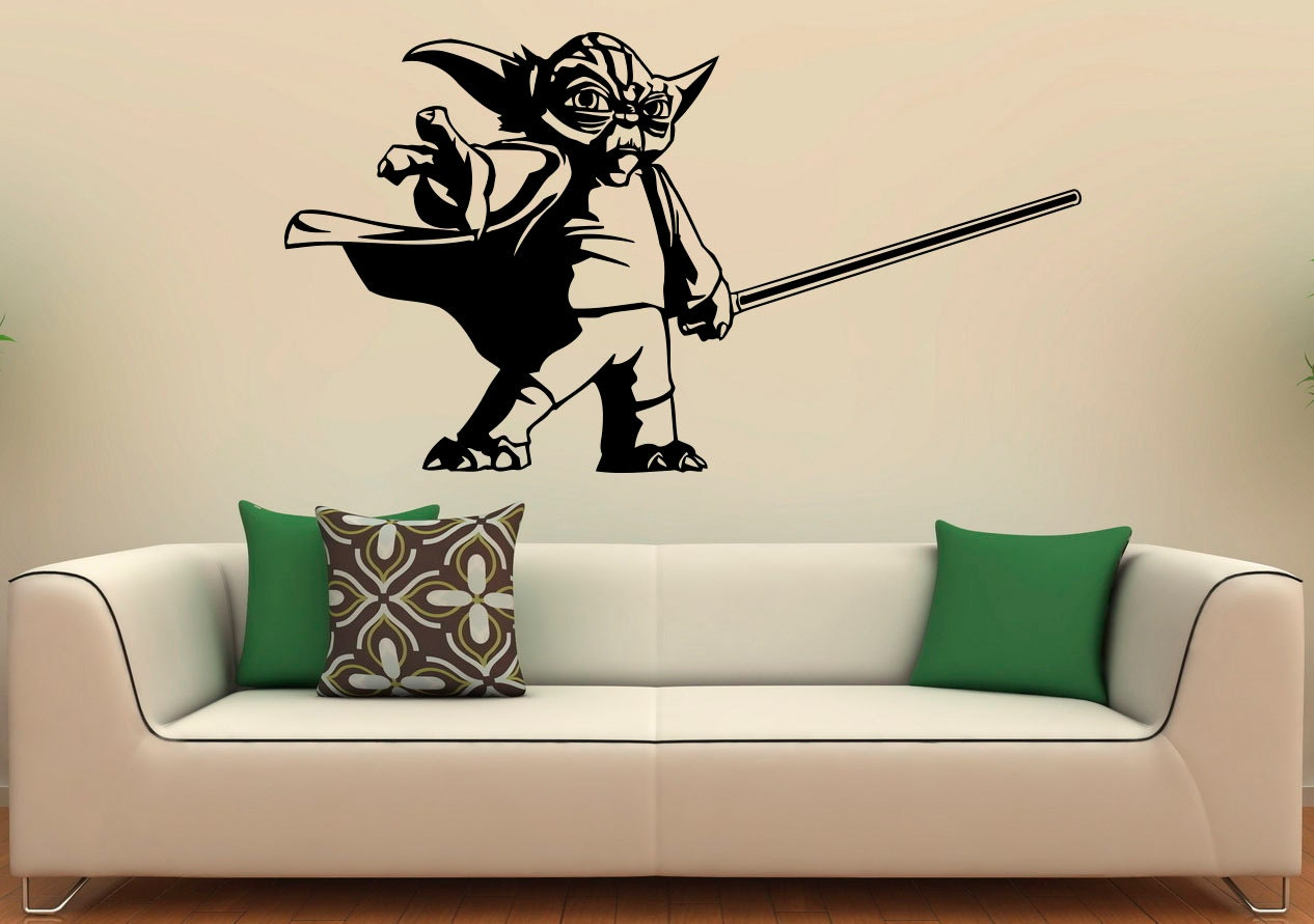 master yoda wall decal vinyl stickers star wars home interior. Black Bedroom Furniture Sets. Home Design Ideas