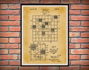 Patent 1956 Scrabble Game Apparatus Art Print Poster - Wall Art - Game room Wall Art - Board Game Patent