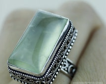 Size 8.5 African PREHNITE 925 S0LID (Nickel Free) Sterling Silver Vintage Setting Ring & FREE Worldwide Express Shipping r1804