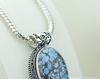 Tibet Turquoise Vintage Style925 Solid Sterling Silver Pendant & Free Worldwide Shipping p2269