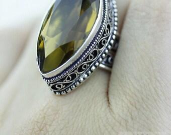 Size 8 - Lemon Quartz 925 S0LID (Nickel Free) Sterling Silver Vintage Setting Ring & FREE Worldwide Express Shipping R1743