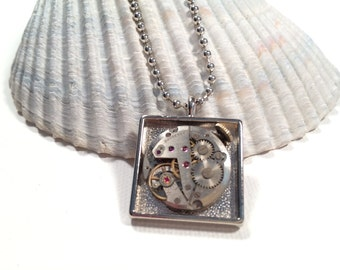 Steampunk Industrial Watch Necklace - Vintage Watch Movement - Altered Art - Recycled Upcycled Repuposed