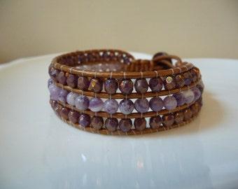 GORGEOUS Triple Row Beaded Wrap Bracelet - Lilac and Copper