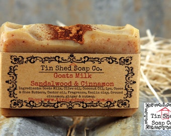 Goats Milk Sandalwood and Cinnamon Handmade Soap with Shea & Cocoa Butters. Made in Australia.