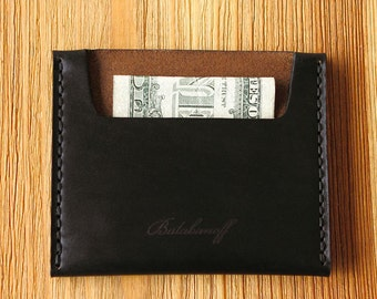 Very Slim Wallet in Horween Chromexcel Black. Minimalistic and roomy