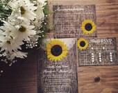 Rustic Sunflower Wedding Invitation, Sunflower Wedding Invitation, Country Wedding Invitation