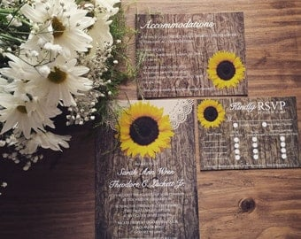 Printed Rustic Sunflower Wedding Invitation