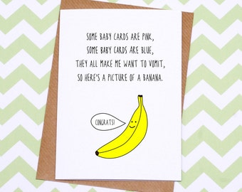Funny New Baby Card - Different Baby Card - Banana Baby Card - Gender Neutral