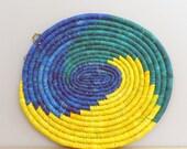 Handwoven Grass Trivet, Denim Blue and Yellow, Table Centerpiece, Wall Art, Made in Rwanda, African Wall Art, Heat Pad, Ethnic Decor
