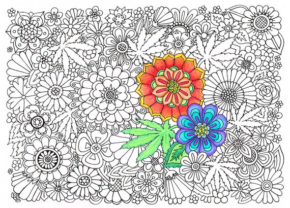 Items similar to adult coloring page hippie garden for Hippie coloring book pages