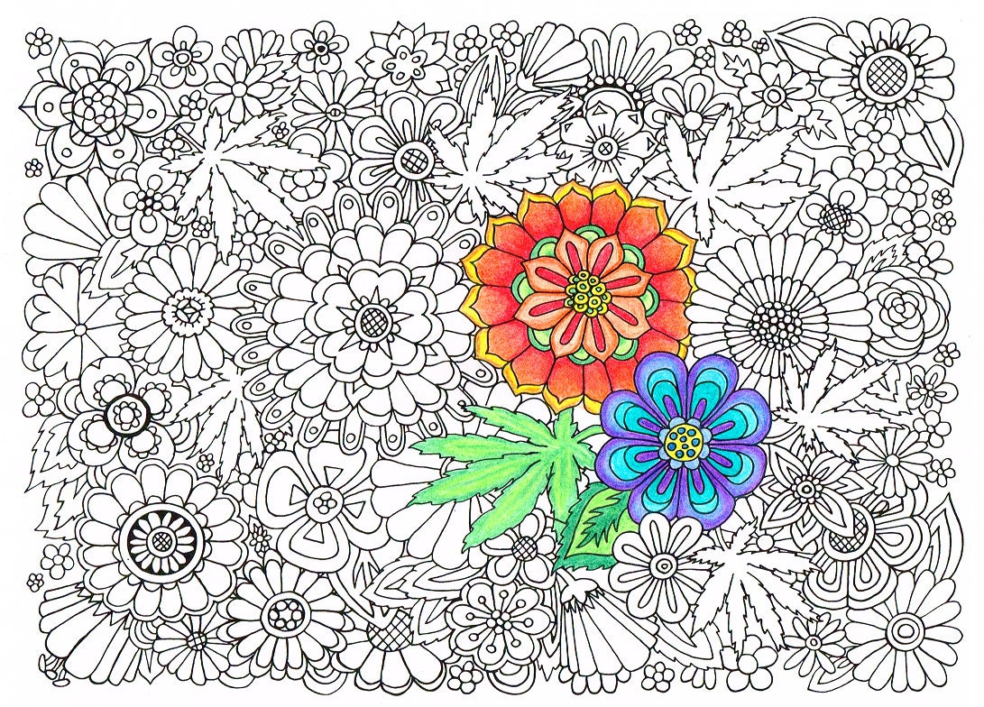 Adult Coloring Page Hippie Garden Printable