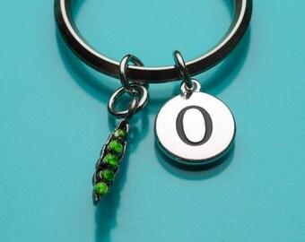 Pea Pod Keychain, Pea Pod Key Ring, Hand Painted Pea Pod, Initial Keychain, Personalized Keychain, Custom Keychain, Charm Keychain, 415