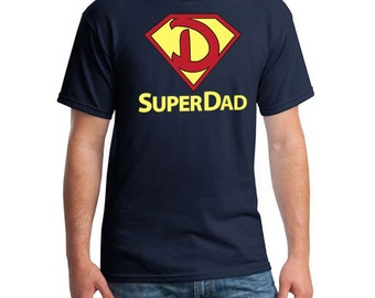 Printed Super Dad T-shirt, Unique Fathers Day Gifts, Father's Day Gift Idea, Gift for Dad, Navy