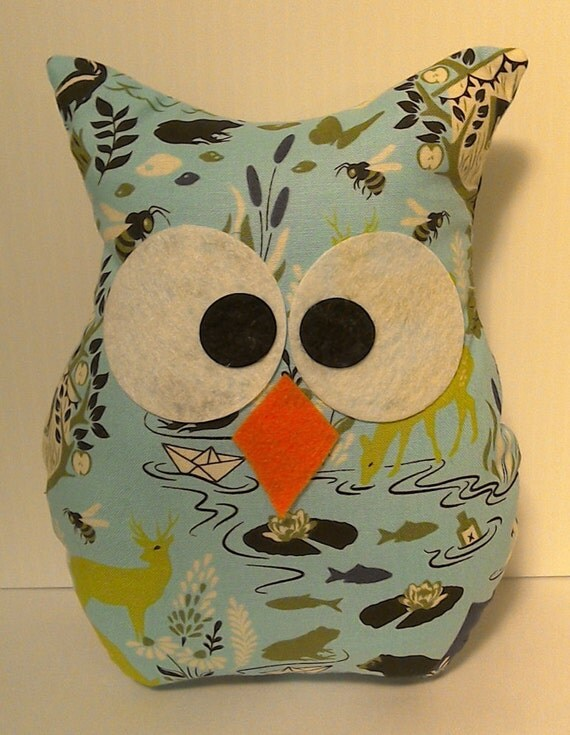 owl home decor fabric ring sling blue grey finest quality by 11687