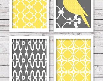 Printable Art Set, Yellow and Gray Art, Printable Art, Bird Art, Bedroom Art, INSTANT DOWNLOAD, Printable Wall Art, Wall Decor