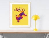 Printable art Deer head print. Orange wall art. Animal printable wall art. Mustard yellow. Geometric animal art print. Deer head wall decor