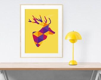 Printable art Deer head print. Orange wall art. Animal printable wall art. Mustard yellow. Geometric animal art print. Deer head wall decor