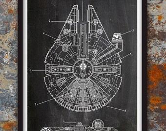 Star Wars Millennium Falcon - Geek Decor - Patent Print Poster Wall Decor Plexity Prints #115
