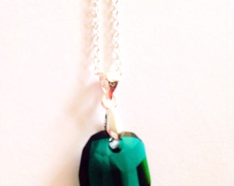 emerald necklace, emerald pendant necklace, green locket necklace, green necklace, sterling silver chain, green swarovski crystal necklace