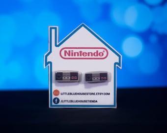 NES Controller / SNES Controller Earrings / Silver Earrings / Stud Earrings