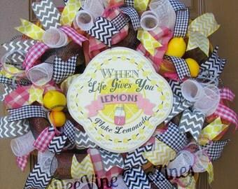 Lemonade Deco Mesh Wreath, Lemonade Mesh Wreath, Lemonade Wreath, Summer Deco Mesh Wreath, Summer Mesh Wreath