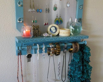 Jewelry Wall Organizer, Jewelry Organizer Storage - Blue Clay Color