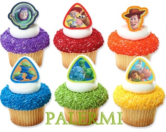 Toy Story Cupcake Topper Rings, Woody and BUZZ light Year Cupcake Toppers, Toy Story 3 cupcake topper