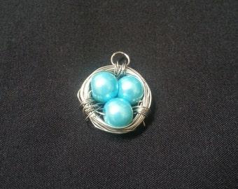 Blue Birds Nest Necklace Charm