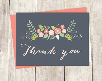 Floral Thank You Card DIY / Coral Pink Flower / Coral And Gray / Coral Calligraphy / Wedding Thank You Printable PDF ▷ Instant Download