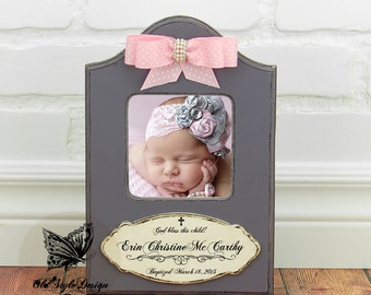 Baptism Gift GIRL Christening Gift GIRL Personalized Picture Frame Baptism Gift for Goddaughter Christening Gift Baby Frame First Birthday