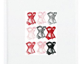Corsets Art Print Corset Art Corset Print Red and Pink Art Valentine's Art Valentine's Day Art Corset Corsets