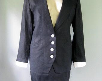 Vintage 80's Louis Feraud Navy Blue Linen Suit Sailor Jacket and Skirt Size US 10