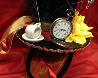 Mad Hatter Alice in Wonderland Steampunk Bespoke Mini Top Hat Real Pocket Watch Tea Party Cosplay Wedding Ascot