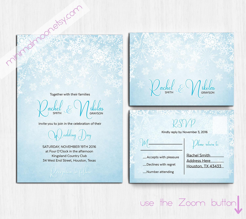 DIGITAL blau Winterhochzeit Winter Hochzeitseinladung
