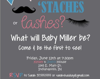 Gender Reveal Party Invitation - Mustache or Lashes?