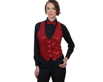 Women's Red Sequin Vest