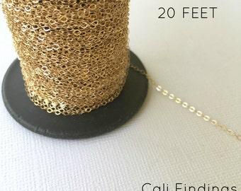14K Gold Fill Chain - 20 FEET - Flat Cable Chain 1.3mm Wholesale, 20 Feet Gold Fill Chain, Flat Cable Chain, Gold Chain, Gold Fill Chain