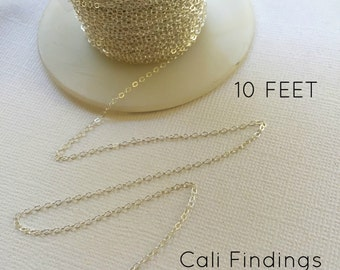 1.3mm Sterling Silver Chain- 10 FEET, Flat Cable Chain 1.3mm, Dainty Sterling Chain, Sterling Cable, Bulk Sterling Chain, Silver Cable